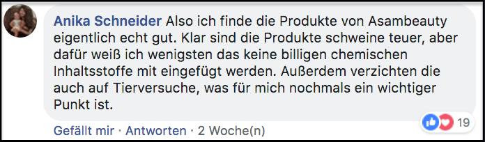 Facebook Kommentar Asambeauty Erfahrungen