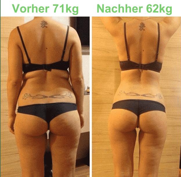 Ergebnis vor und nach dem Training