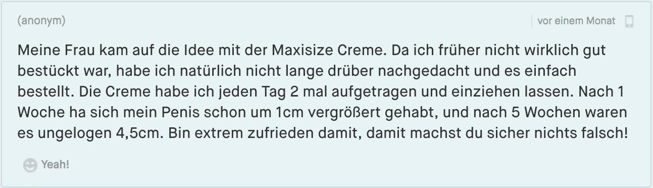 Maxisize Kommentar aus einem Forum