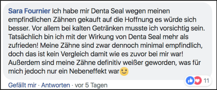Facebook Kommentar über Denta Seal