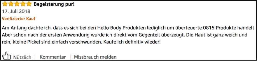 Hello Body Erfahrungsbericht Amazon