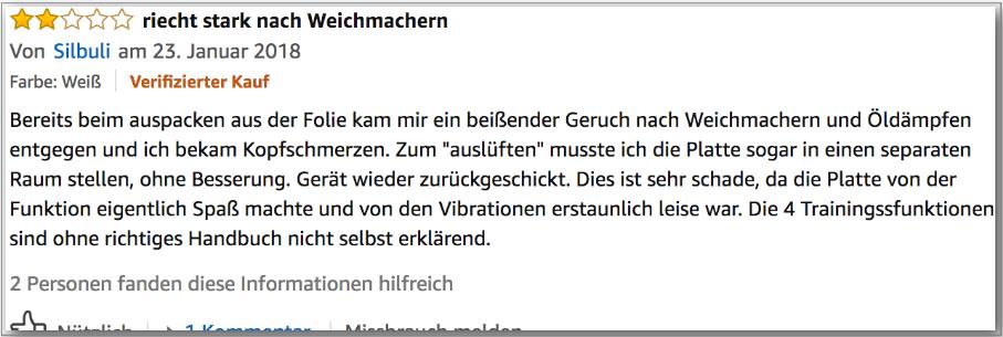 Einer von wenigen negativen Erfahrungen mit der Vibrationsplatte