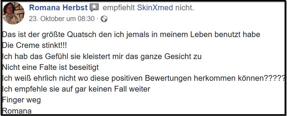 skinXmed Erfahrungen Facebook