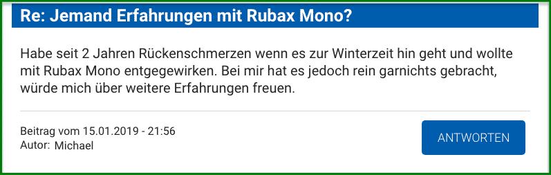Rubax Mono Erfahrungen