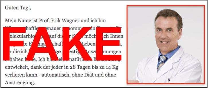 Prof- Erik Wagner ist kein Arzt, sondern eine erfundene Person