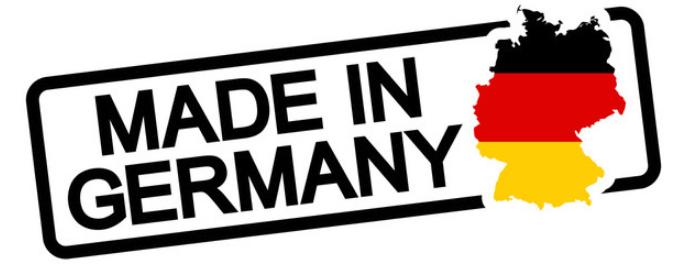 Schriftzug made in Germany mit Deutschland Flagge