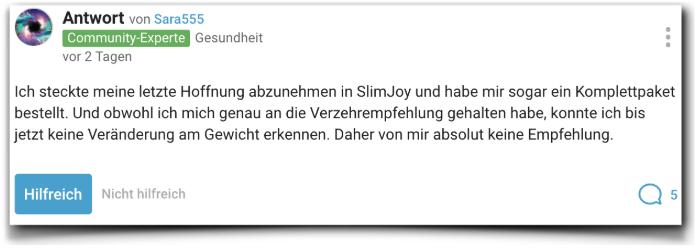 Slimjoy Erfahrungen Erfahrungsbericht gutefrage