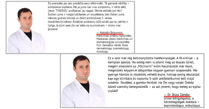 Micinorm wirbt mit Fake Arzt