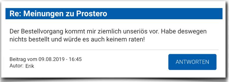 Prostero Erfahrungsbericht Bewertung Kritik Prostero