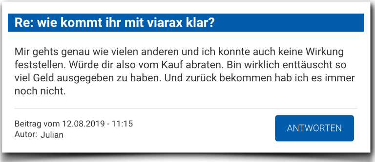 Viarax Erfahrungsbericht Bewertungen Kritik Viarax