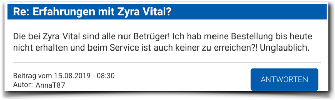 Zyra Vital Kritik Erfahrungsbericht Zyra Vital