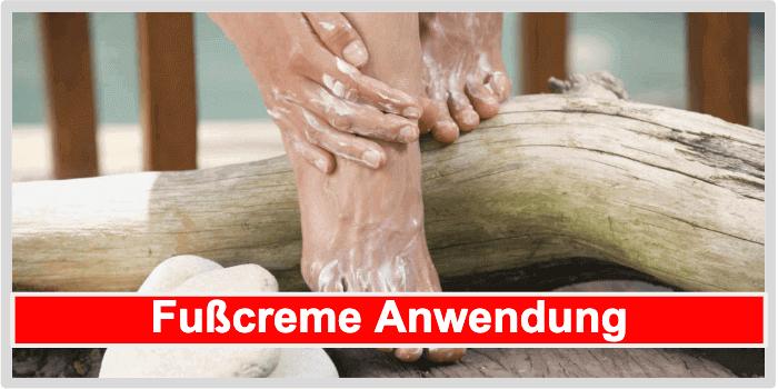 Anwendung Fußcreme
