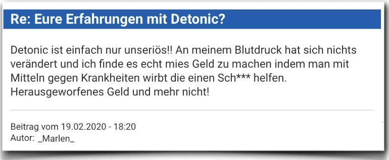 Detonic Erfahrungsbericht Bewertung Kritik Detonic