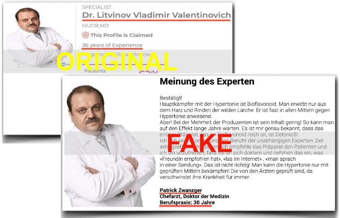 Detonic wirbt mit Fake Arzt