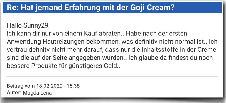Goji Cream Erfahrungsbericht Bewertung Kritik Goji Cream