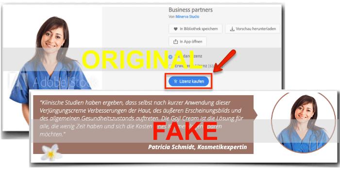 Goji Cream wirbt mit Fake Expertin