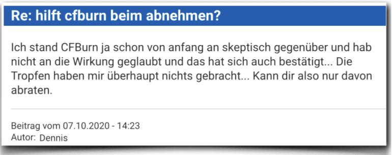 CFBurn Erfahrungsbericht Kritik Bewertung CFBurn