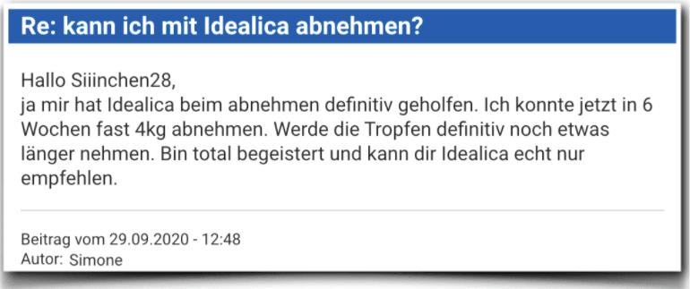 Idealica Erfahrungsbericht Bewertung Kritik Idealica Tropfen