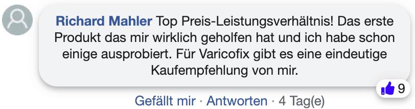 Varicofix Bewertung Erfahrungsbericht facebook